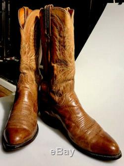Lucchese 1883 N1547 Tan Crayton Goat Leather Western Cowboy Boots Size 9.5 D