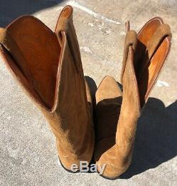 Lucchese 1883 Suede Leather Cowboy Boots Size 10.5 Ee Wide Tan Western