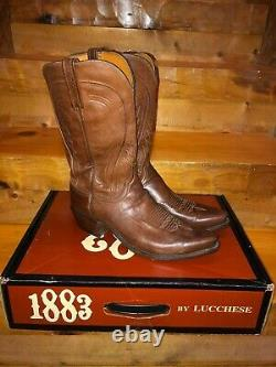 Lucchese 1883 Tan Burnished Ranch Hand Cowboy Western Boots Mens Size 10.5 D