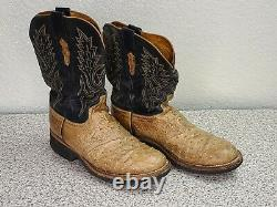Lucchese 2000 Black Goat Shaft and Tan Ostrich Vamp Boots Men's SIZE 9.5 EE