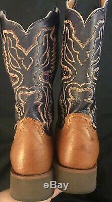 Lucchese 2000 Blue Tan Western Cowboy Boots T4532HD B 05611 Womens US 7.5