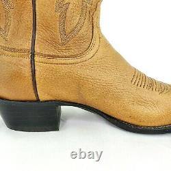 Lucchese 2000 Elk Leather Soft Tan Western Cowboy Boots Mens Size 10
