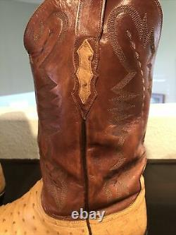 Lucchese 2000 Men Tan/Brown Full Quill Ostrich Exotic Western Boots Used