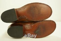 Lucchese 2000 Western Boots Tan Ostrich Skin Round Toe Mens 9.5 D Texas T3193HD