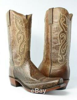 Lucchese A1503.73 Gladstone Mens Tan Burnished Leather Cowboy, Western Boots