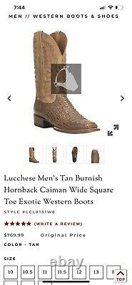 Lucchese BOOTS Size 9.5D HORNBACKS Crocodile Style# CL1025 TAN BURNISHED