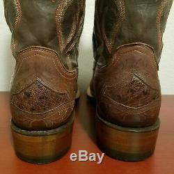 Lucchese Bartley 12 Cowboy Boots CL1049. WF Tan Ostrich Leather Men's Size 10 D