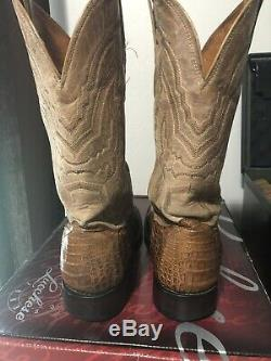 Lucchese Boots Mens Western Hornbac Caiman Square Toe Size 10.5D Tan/Tobacco Col