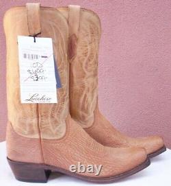 Lucchese Carl, Tan Burnished Sanded Shark Skin Boots, Style # M3190, Size 10 D