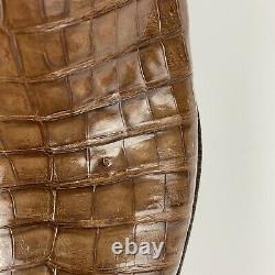 Lucchese Classic Men's 11D Tan Caiman Crocodile Belly Boots Brown E2153 USA