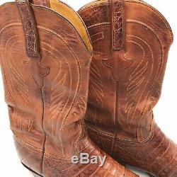 Lucchese Classic Ms 10.5D Tan Burnished Caimen Belly Handmade Cowboy Boots L1329