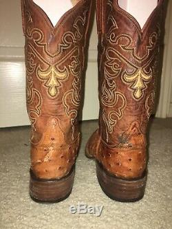 Lucchese Classics Brown Tan Leather Ostrich Cowboy Western Boots Mens Size 7.5