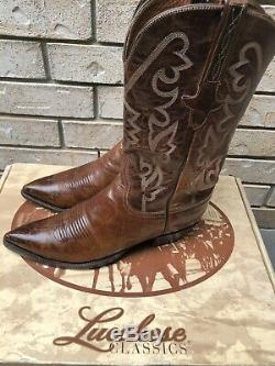 Lucchese Classics Tan Mad Dog Goat Pointed Toe Cowboy Boots 8.5 D $969.99