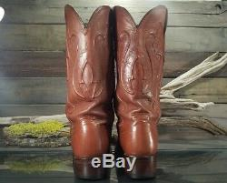 Lucchese Cole Tan Ranch Brown Leather Cowboy Western Boots Mens Sz 8.5 D US EUC