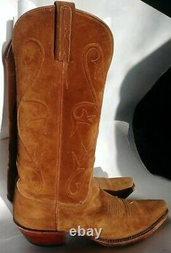 Lucchese Cowboy Boots Cord Rough Out Suede Tan Brown Women's Size 8 MADE IN USA