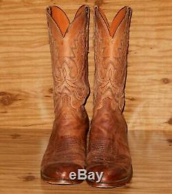 Lucchese Cowboy Boots Size 11 D Tan Mad Dog Goat Leather M1008R
