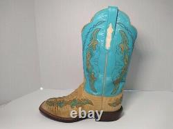 Lucchese Cowgirl Boots 8 Teal Brown Tan Turquois Alligator Buffalo Leather