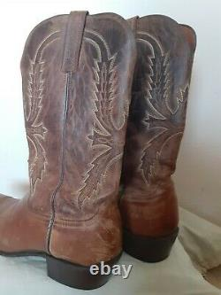 Lucchese Crayton N154754 Mens Tan Burnished Mad Dog Goat Western Boots Sz 12D
