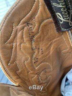 Lucchese Elephant Leather And Suede Boots 12 Brown Tan Western Cowboy