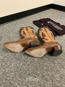 Lucchese Exotic American Alligator 10.5ee Western Cowboy Boots Tan & Rust
