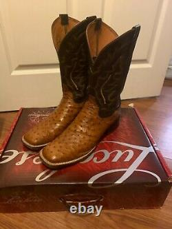 Lucchese Full Quill Ostrich Men's Tan ranch M1613 TWF Square Toe 11.5 B