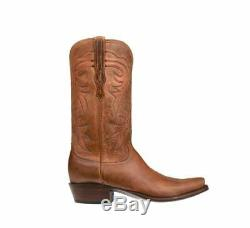 Lucchese HL1504 73 Burleson Mens Tan Burnished Goat Leather Cowboy Western Boots