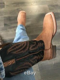 Lucchese HY2504 Archer Mens Tan Old English Goat Leather Cowboy Boots