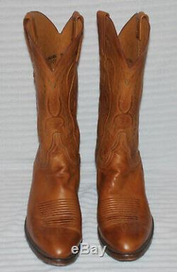 Lucchese Handmade Distressed Tan Honey Brown Western Cowboy Boots Men's 9 E USA