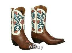 Lucchese M4920 Belle Womens Tan Leather Cowboy, Western Boots