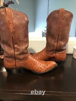Lucchese Men Tan and Barnwood Full Quill Ostrich Pointe Toe Exotic Western Boots