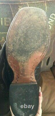Lucchese Men's Cowboy Boots 11 2E Chocolate Brown Alligator Navy Tan Stitching