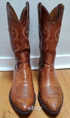 Lucchese Men's Smooth Ostrich Boots 12D Tan/Carmel