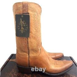 Lucchese Mens 10.5 D Tan Burnished Mad Dog Goat N1547.54 Cowboy Western Boots