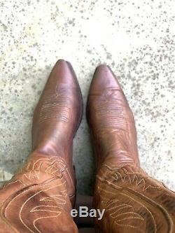 Lucchese Mens 1883 Tan Burnished Ranch Hand Calf Skin Boots N1596.54 Size 11.5D