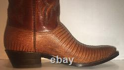 Lucchese Mens Boot Size9.5 Tan Lizard And Goat Leather Western Dwidth NWB