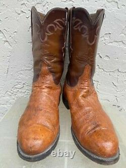 Lucchese Mens Full Quill Ostrich Tan Western Cowboy Boots Sz 10.5 Ee