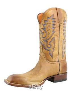 Lucchese Mens KD6505. WF Tan Burnished Lavarti Calf Leather Cowboy, Western Boots