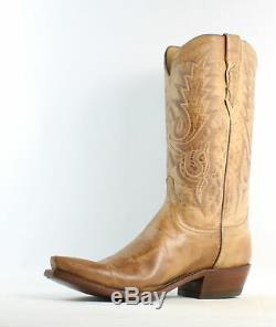 Lucchese Mens M1008.54 Tan Mad Dog Goat Cowboy, Western Boots Size 12 (692624)
