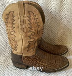 Lucchese Mens Tan Burnish Hornback Caiman Wide Square Toe Exotic Cowboy Boots 13