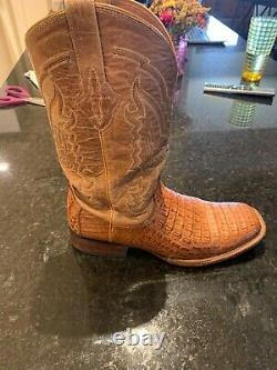 Lucchese Mens Tan Crocodile Caiman Hornback Square Toe Cowboy Boots 12D WithBox