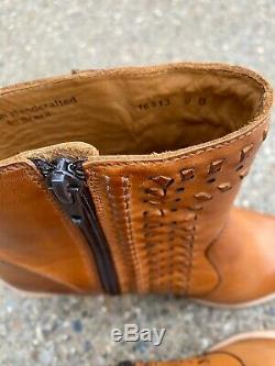Lucchese Piper Cowboy Boots Ankle Golden Tan Size 9 Western