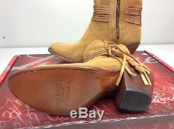 Lucchese ROBYN Light Tan Short Fringe Boots Bootie Size 9.5 Cowboy