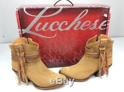 Lucchese ROBYN Light Tan Short Fringe Boots Bootie Size 9.5 Cowboy Western