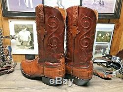 Lucchese Rare Exotic American Hornback Alligator 10.5d Cowboy Boots Tan & Rust