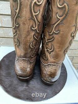 Lucchese Round Toe Antique Tan Giant Alligator Inlayed Shaft Cowboy Boots 10.5d