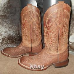 Lucchese Ryan sanded shark cognac tan leather boots 9 D cowboy western M4483