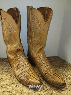 Lucchese Snip Toe Tan Tail Cut Alligator Cowboy Western Boots USA Made 11.5