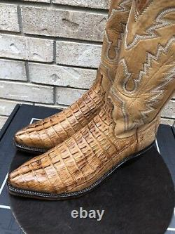 Lucchese Snip Toe Tan Tail Cut Alligator Cowboy Western Boots USA Made 11.5 D