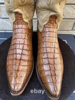 Lucchese Snip Toe Tan Tail Cut Alligator Cowboy Western Boots USA Made 9.5 D