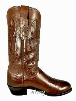 Lucchese Tan Brown Ranch Hand Calf Leather Cowboy Western Boots Mens Sz 10 D